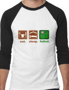 eat, sleep, futbol Men's Baseball ¾ T-Shirt