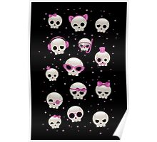Cute Skulls with Pink Accessories Poster