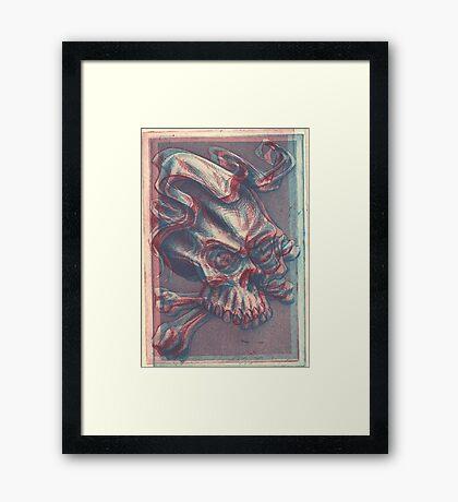 Skull with ribbon  Framed Print