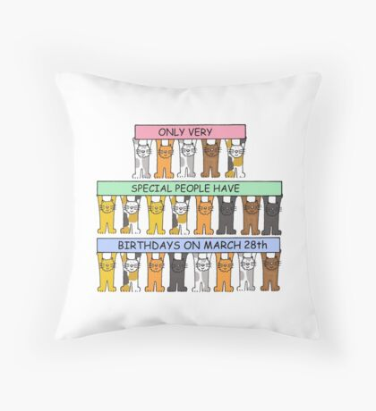 Cats celebrating birthdays on March 28th. Throw Pillow