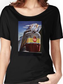 Canada Vintage Railroad Travel Poster Restored Women's Relaxed Fit T-Shirt