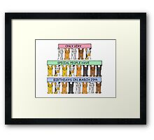 Cats celebrating birthdays on March 29th. Framed Print