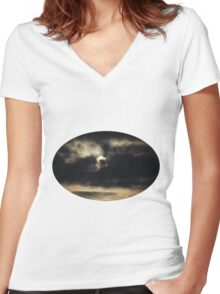 Dark Full Moon Women's Fitted V-Neck T-Shirt