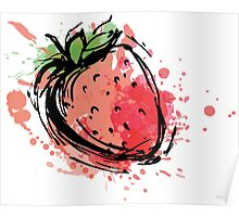 Strawberry made of colorful splashes Poster