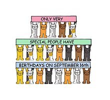 Cats Celebrating Birthdays on September 16th Photographic Print