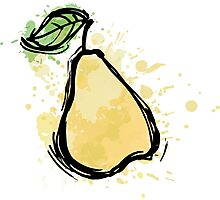 Abstract pear illustration. sketch ripe pear Photographic Print
