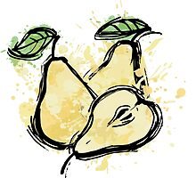 Abstract pear illustration. sketch ripe pear by o-ta