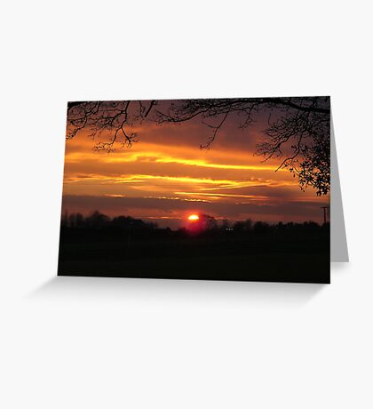 Evening Sunset Landscape Greeting Card