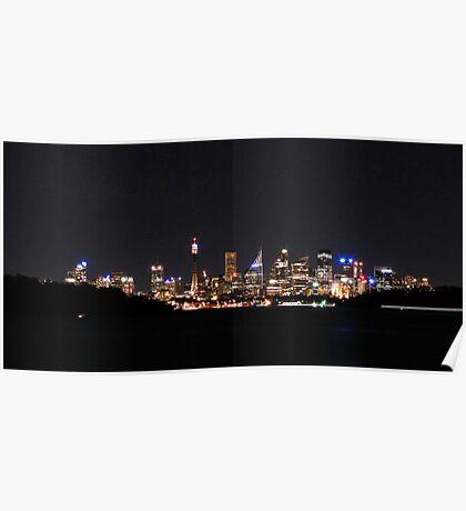 Sydney Skyline By Night Poster