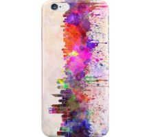 Perth skyline in watercolor background iPhone Case/Skin