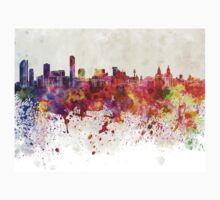 Liverpool skyline in watercolor background Kids Clothes
