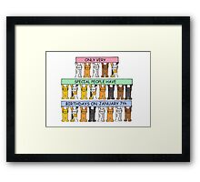Cats celebrating birthdays on January 7th. Framed Print