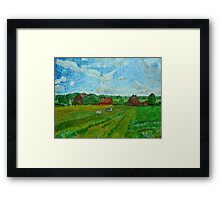 Landscape with Cottages and Cows Framed Print