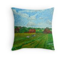 Landscape with Cottages and Cows Throw Pillow