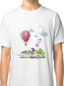 open book with rocket, mountain, moon, boat, air balloon Classic T-Shirt