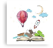 open book with rocket, mountain, moon, boat, air balloon Canvas Print