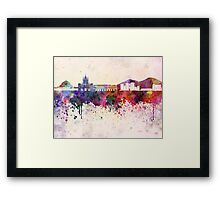 Naples skyline in watercolor background Framed Print