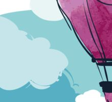 Hot Air Balloon and Clouds Sticker