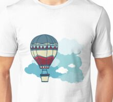Drawing Illustration of hot air balloons floating in the sky.  Unisex T-Shirt