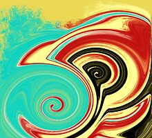 Red, Turquoise, and Black Swirls on Gold by Jessielee72