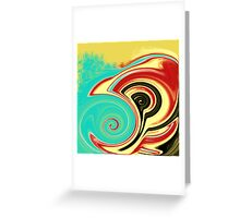 Red, Turquoise, and Black Swirls on Gold Greeting Card