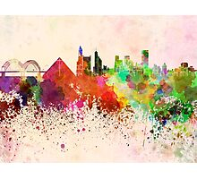 Memphis skyline in watercolor background Photographic Print