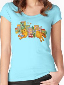 Catzilla Takes a Break Women's Fitted Scoop T-Shirt