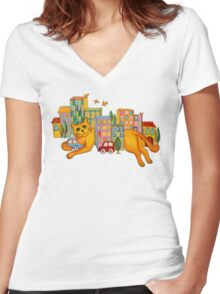 Catzilla Takes a Break Women's Fitted V-Neck T-Shirt