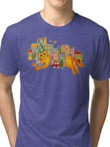Catzilla Takes a Break Tri-blend T-Shirt