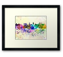 Valletta skyline in watercolor background Framed Print