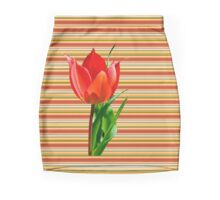 tulip on a striped background Mini Skirt