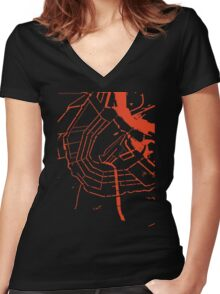 Amsterdam city map classic Women's Fitted V-Neck T-Shirt