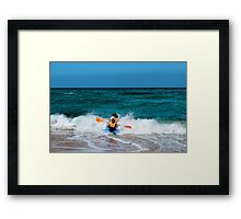 Only to overcome the wave Framed Print
