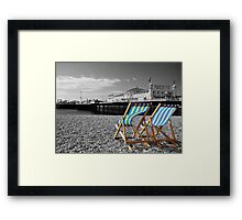 """""""Great View"""" - Deck chairs on Brighton beach. Framed Print"""