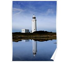 """Reflections in Blue"" - Hurst Point Lighthouse Keyhaven hampshire Poster"