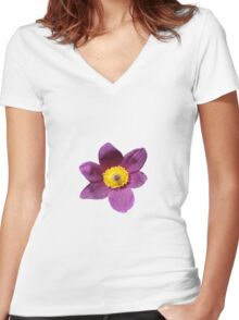 Purple Flower Tee Shirt Women's Fitted V-Neck T-Shirt