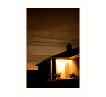 A Suburban Home at Night Art Print