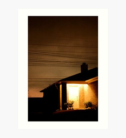 A Suburban Home at Night Art Print