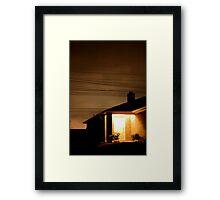 A Suburban Home at Night Framed Print