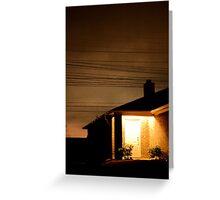 A Suburban Home at Night Greeting Card