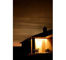 A Suburban Home at Night Photographic Print