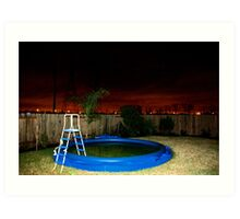 A Deflated Pool in a Suburban Back Yard Art Print