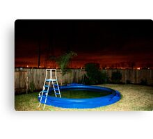 A Deflated Pool in a Suburban Back Yard Canvas Print