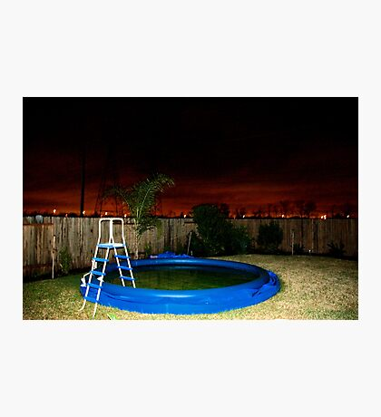 A Deflated Pool in a Suburban Back Yard Photographic Print