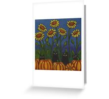 Four Cats in the Pumpkin Patch Greeting Card
