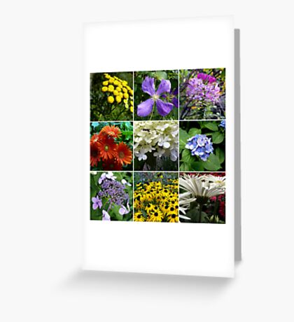 Mid-August Flower Collage Greeting Card