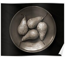 four pears in a bowl Poster