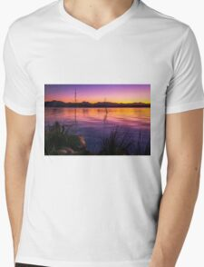 Colourful sunset at Lake Moogerah in Queensland Mens V-Neck T-Shirt
