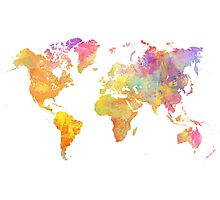 World Map Pastel Photographic Print
