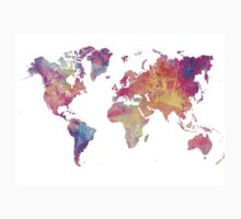 World Map Violet One Piece - Short Sleeve